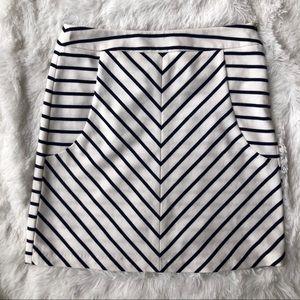 CYNTHIA ROWLEY Knit Pencil Skirt Mini Cream Navy